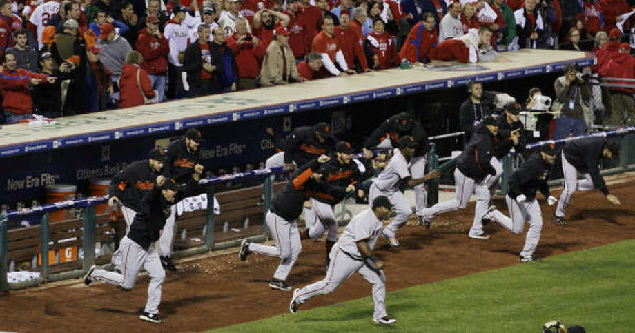 Giants 3, Phillies 2 ( Giants win series 4-2)    The San Francisco Giants are going to the World Series. Photo: Rob Carr, AP