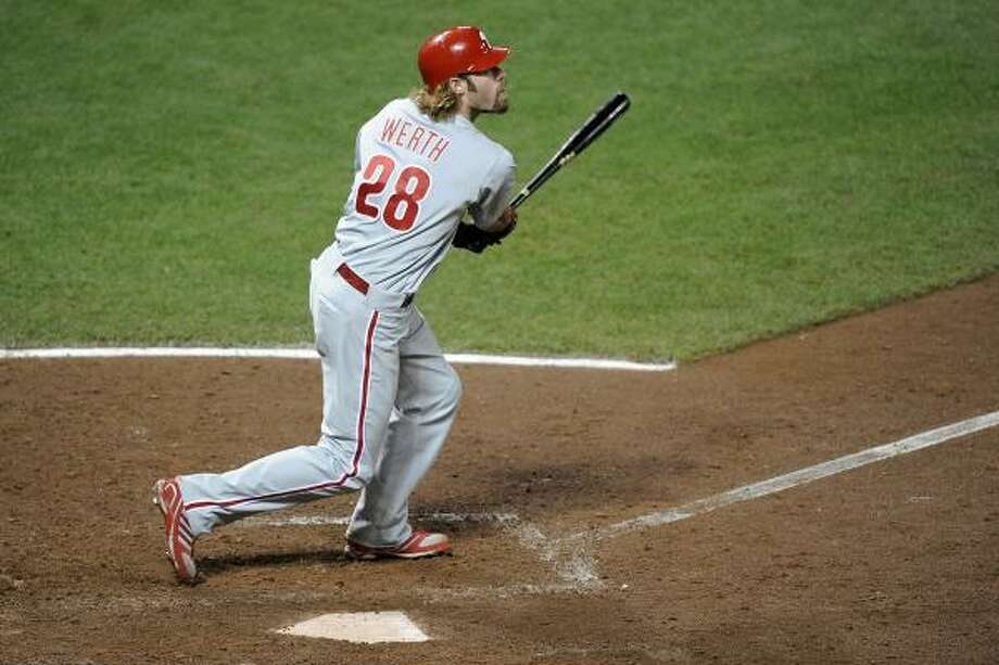 NLCS Game 5: Phillies 4, Giants 2 (Giants lead series, 3-2) Jayson Werth gave the Phillies an insurance run with a solo home run off Giants reliever Ramon Ramirez in the ninth inning of Thursday night's game. Photo: Harry How, Getty Images