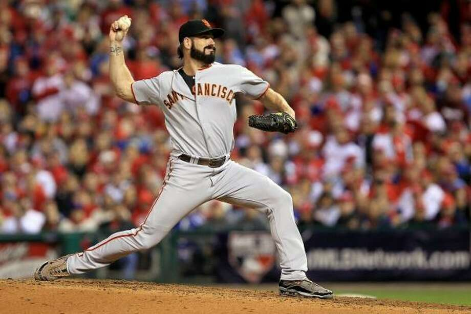 NLCS Game 1: Giants 4, Phillies 3 (Giants lead series, 1-0) Giants closer Brian Wilson recorded the final four outs in Saturday's win over the Phillies. Photo: Chris McGrath, Getty Images