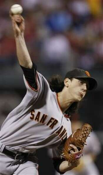 Giants starter Tim Linceum held the Giants to three runs in seven innings.