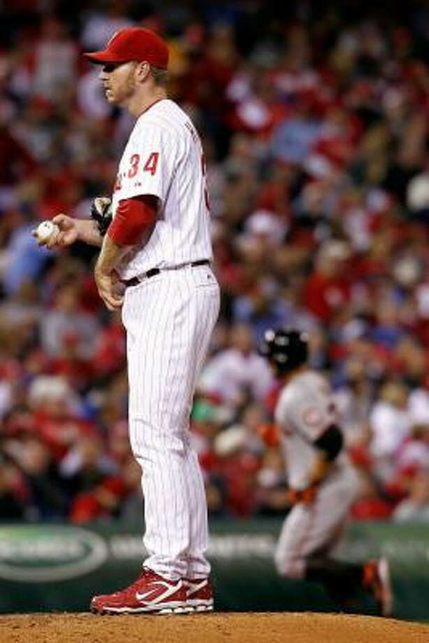 One start after tossing a no-hitter, Philadelphia's Roy Halladay gave up four runs in seven innings. Photo: Jeff Zelevansky, Getty Images