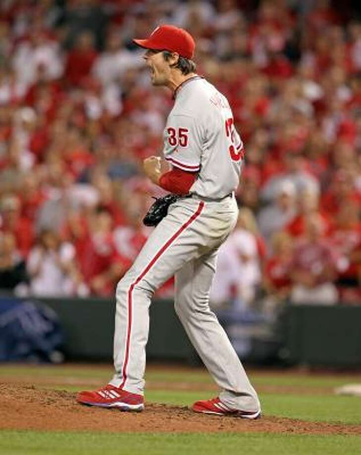 Phillies pitcher Cole Hamels celebrates a complete game shut-out against the Reds. Photo: Andy Lyons, Getty Images