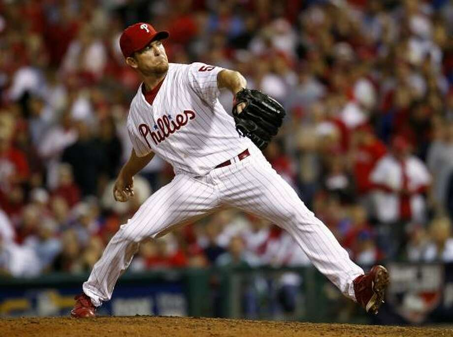 NLDS Game 2: Phillies 7, Reds 4 (Phillies lead series, 2-0)Closer Brad Lidge shut out the Reds in the ninth inning to preserve the Phillies' win on Friday night in Philadelphia. Photo: Jeff Zelevansky, Getty Images