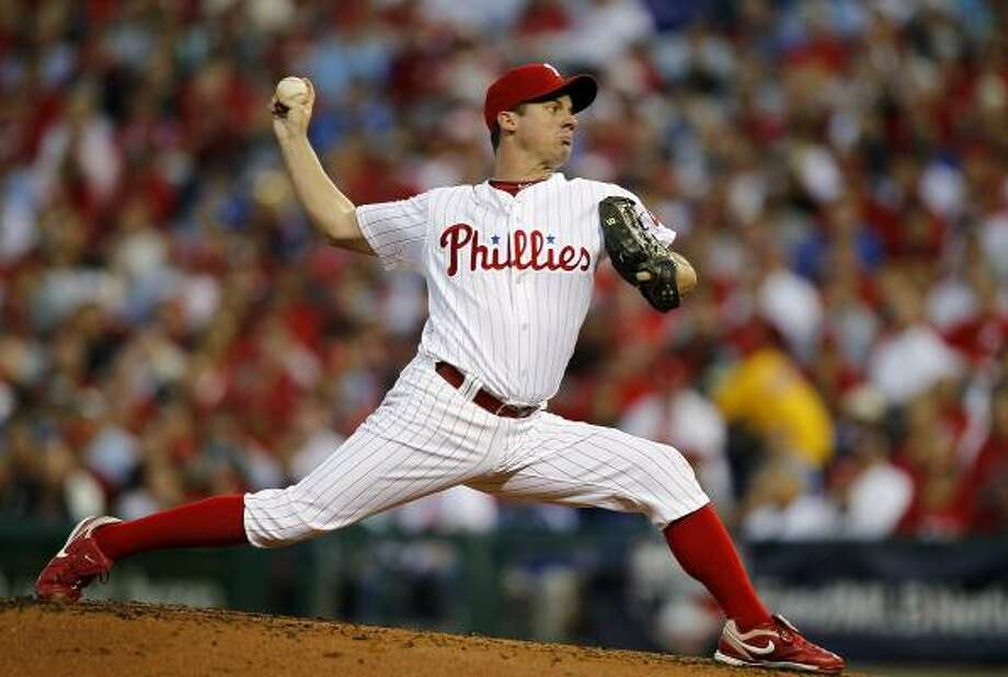 Phillies starter and former Astro Roy Oswalt gave up four runs (three earned) in five innings. Photo: Jeff Zelevansky, Getty Images