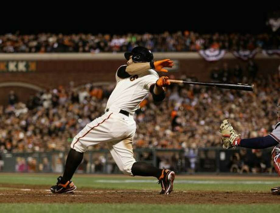 NLDS Game 1: Giants 1, Braves 0 San Francisco's Cody Ross drove in the game's only run with a single that scored Buster Posey in the fourth inning of Thursday night's game in San Francisco. Photo: Ezra Shaw, Getty Images