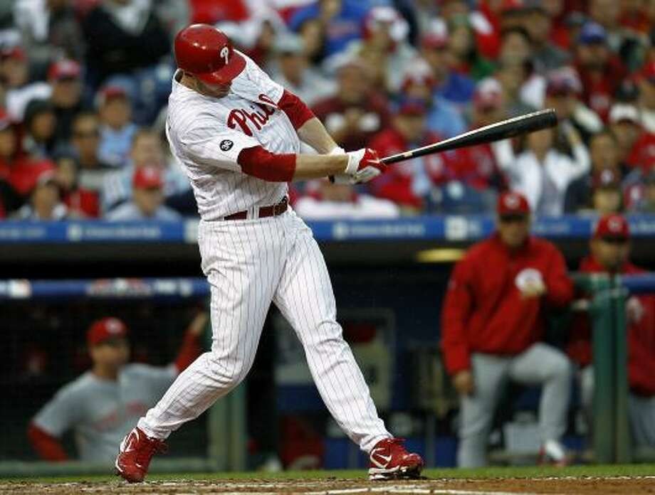 Roy Halladay also came through at the plate, delivering an RBI single in the second inning. Photo: Jeff Zelevansky, Getty Images