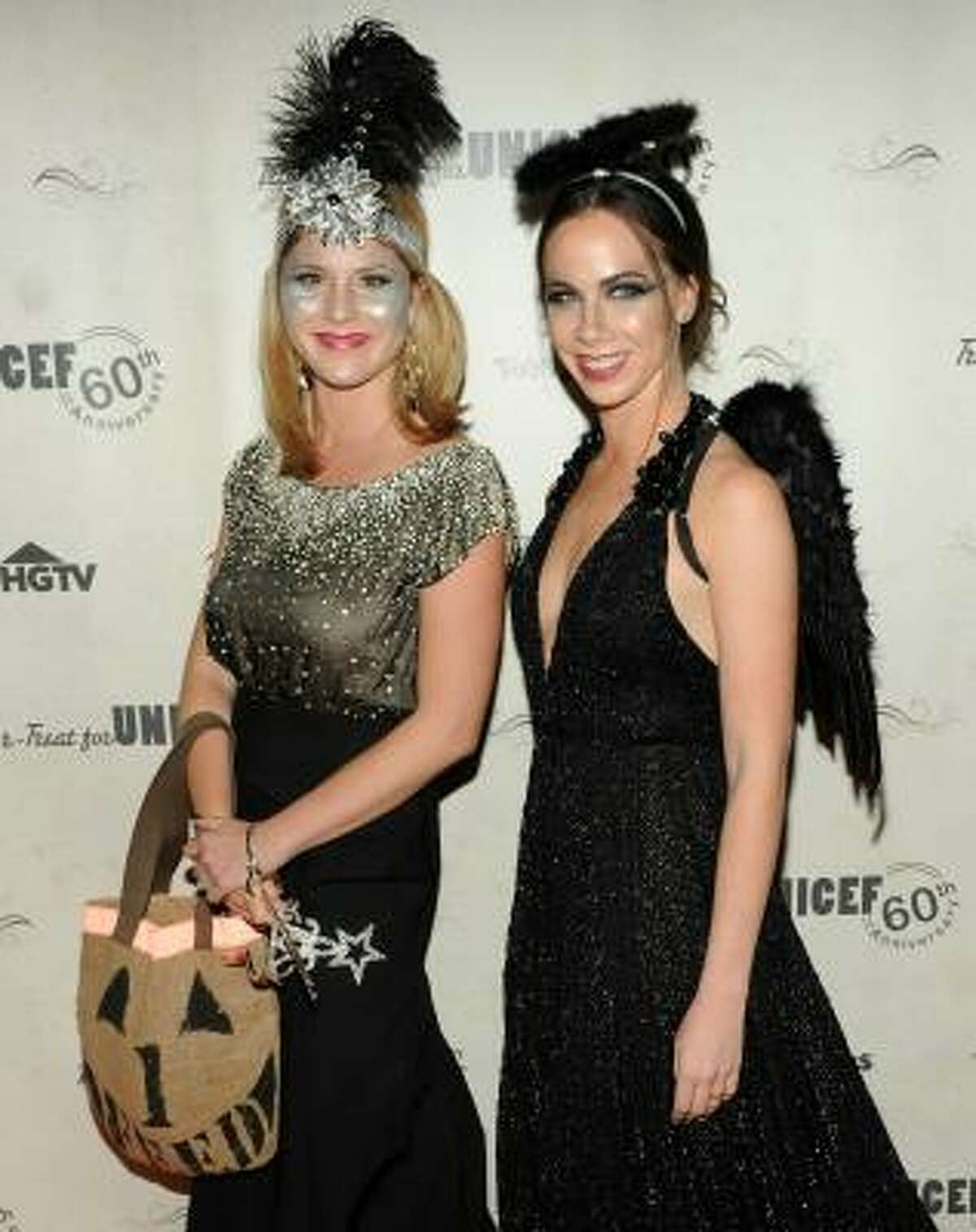 The young women look sparkly and glamorous as a flapper and fallen angel.