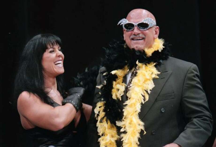 Jesse 'The Body' Ventura (right) moved out of the ring and into a place behind the lectern, as he gave seminars on politics at Harvard's Kennedy School of Government in the spring of 2004. Photo: DAWN VILLELLA, AP