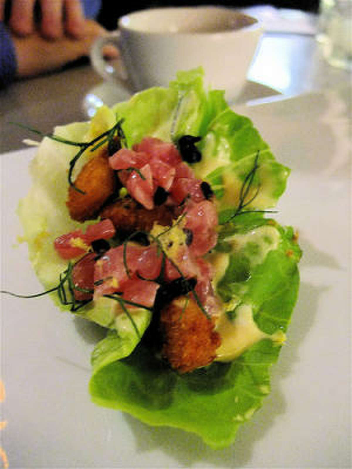 Lettuce hand roll with fried sweetbreads, tuna and dashi, 10.10.10 tasting-menu dinner at Paulie's, by chefs Seth Siegel-Gardner and Justin Yu. Beverages were a collaboration with Greenway Coffee's David Buerhrer.