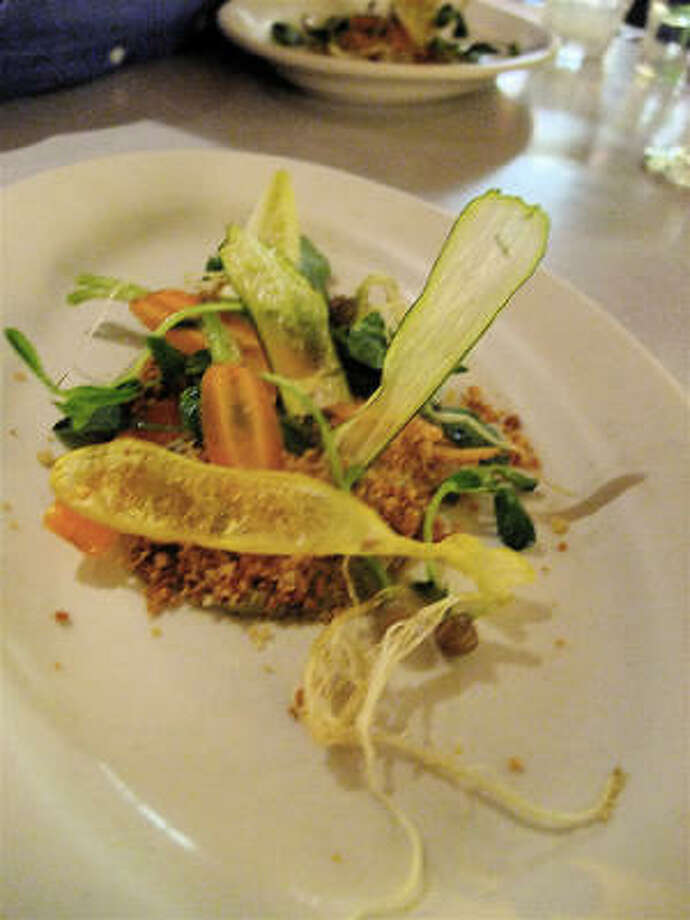 """At the 10.10.10 dinner, an abstract garden was a neo-salad course of fresh and dried vegetables with toasted-crumb """"soil"""" and tart yuzu sauce.  Bu chefs Seth Siegel-Gardner & Justin Yu. Photo: Alison Cook, Chronicle"""