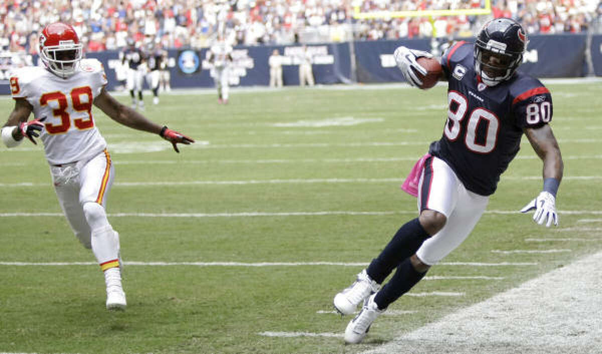 Oct. 17: Texans 35, Chiefs 31 Texans wide receiver Andre Johnson finished the game with eight catches for 138 yards and one touchdown.