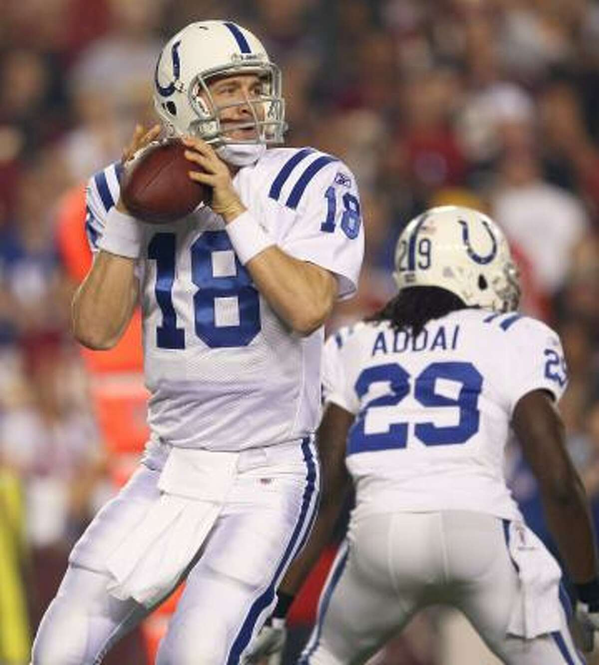 Oct. 17: Colts 27, Redskins 24 Colts quarterback Peyton Manning threw for 307 yards and two touchdowns.