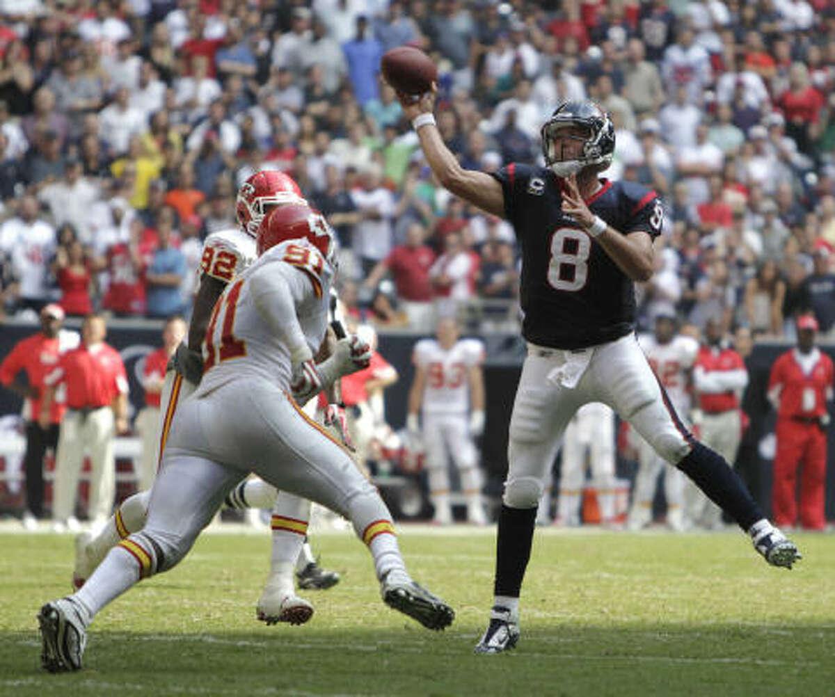 Houston Texans quarterback Matt Schaub throws as pass on the game winning drive during the fourth quarter.