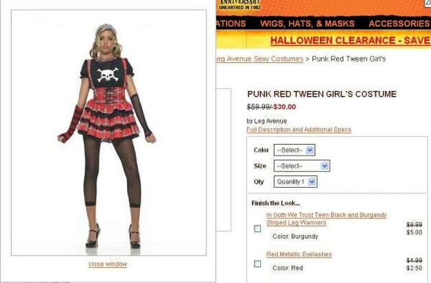 This costume is marketed for tween girls — children between the ages of 9 and 12. Photo: Www.spirithalloween.com