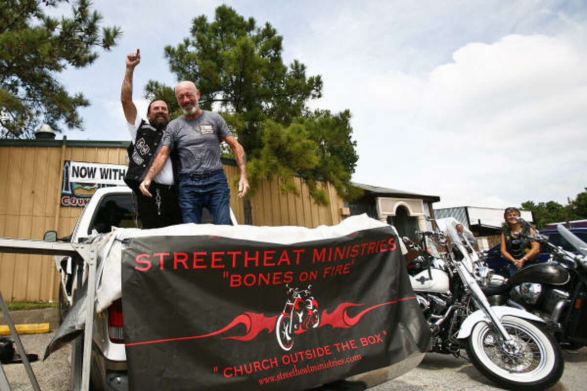 A group of Christian bikers called Street Heat Ministries meets at the bar for worship every Sunday.