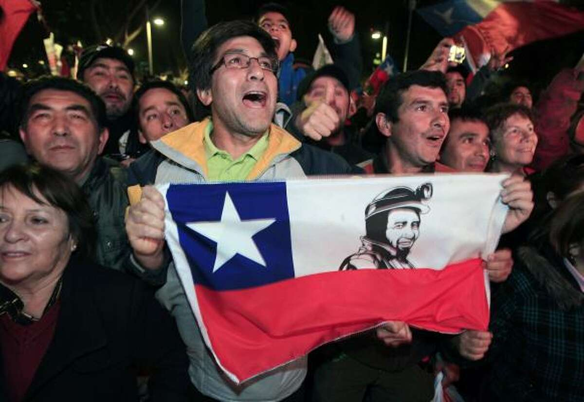 Chileans celebrate as the mine rescue comes to an end.