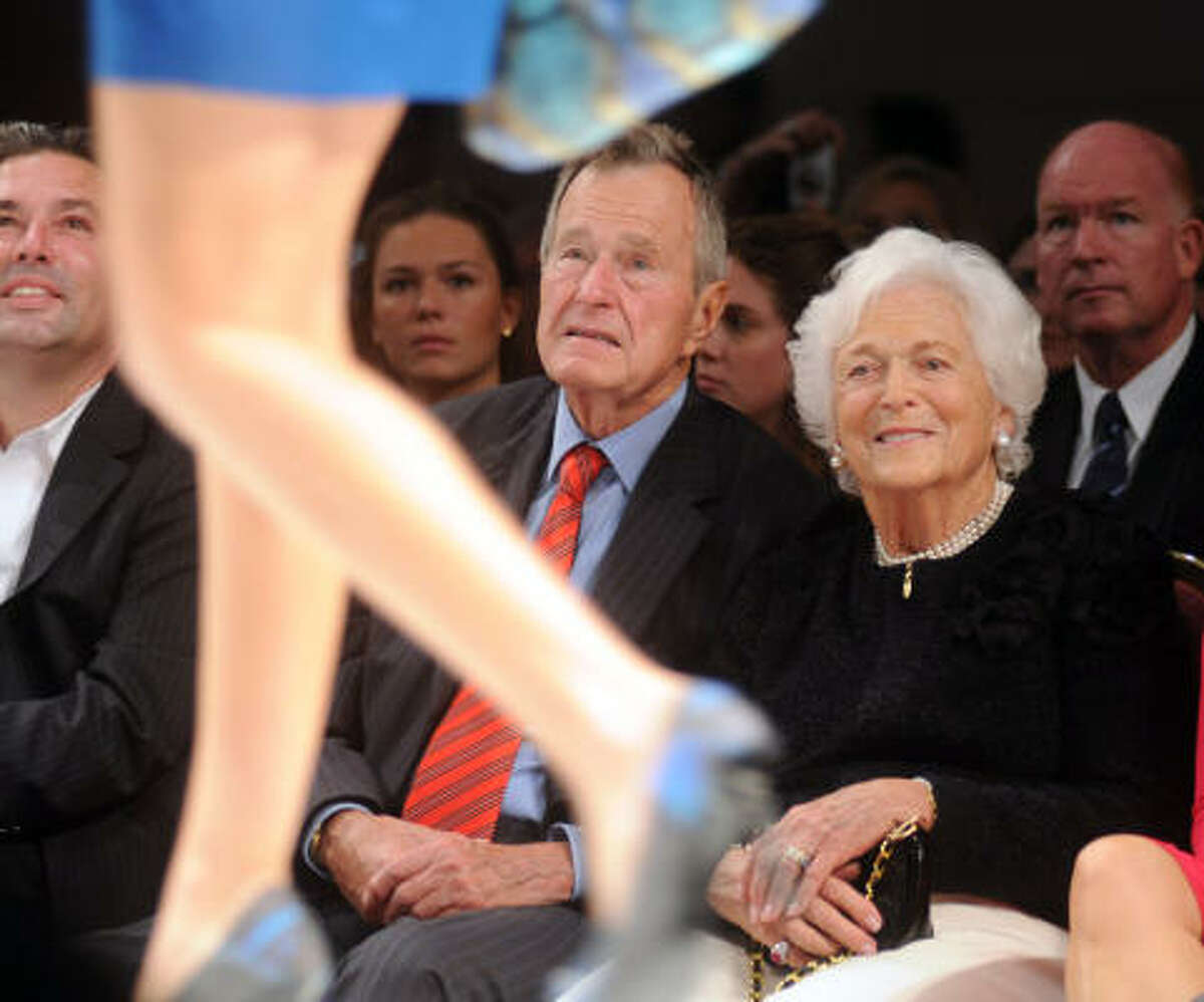 President George Bush and his wife Barbara attended runway shows during the city's first major fashion week.
