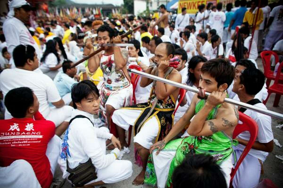 The festival begins on the first evening of the ninth lunar month and lasts for nine days. Participants perform acts of body piercing as a means of shifting evil spirits from others onto themselves and bringing the community good luck.