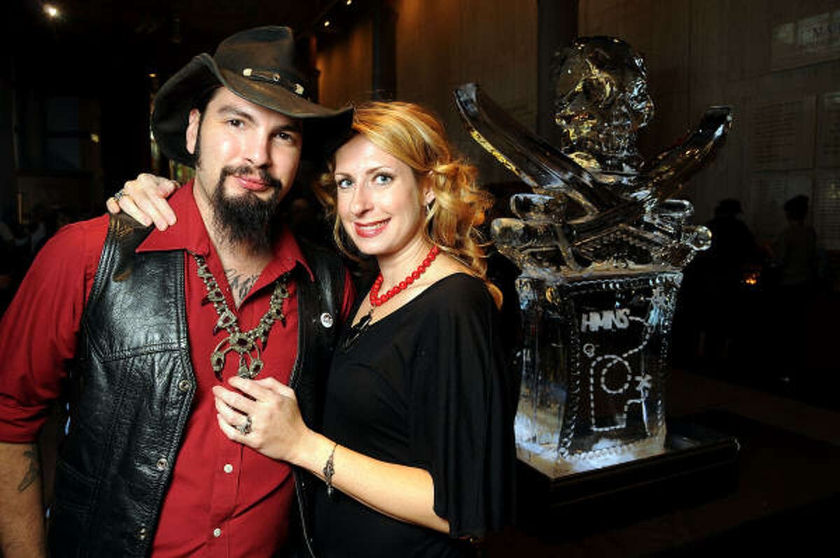 The Reverend Butter and his wive Sarah at a VIP preview of Real Pirates: The Untold Story of the Whydah from Slave Ship to Pirate Ship at the Houston Museum of Natural Science.