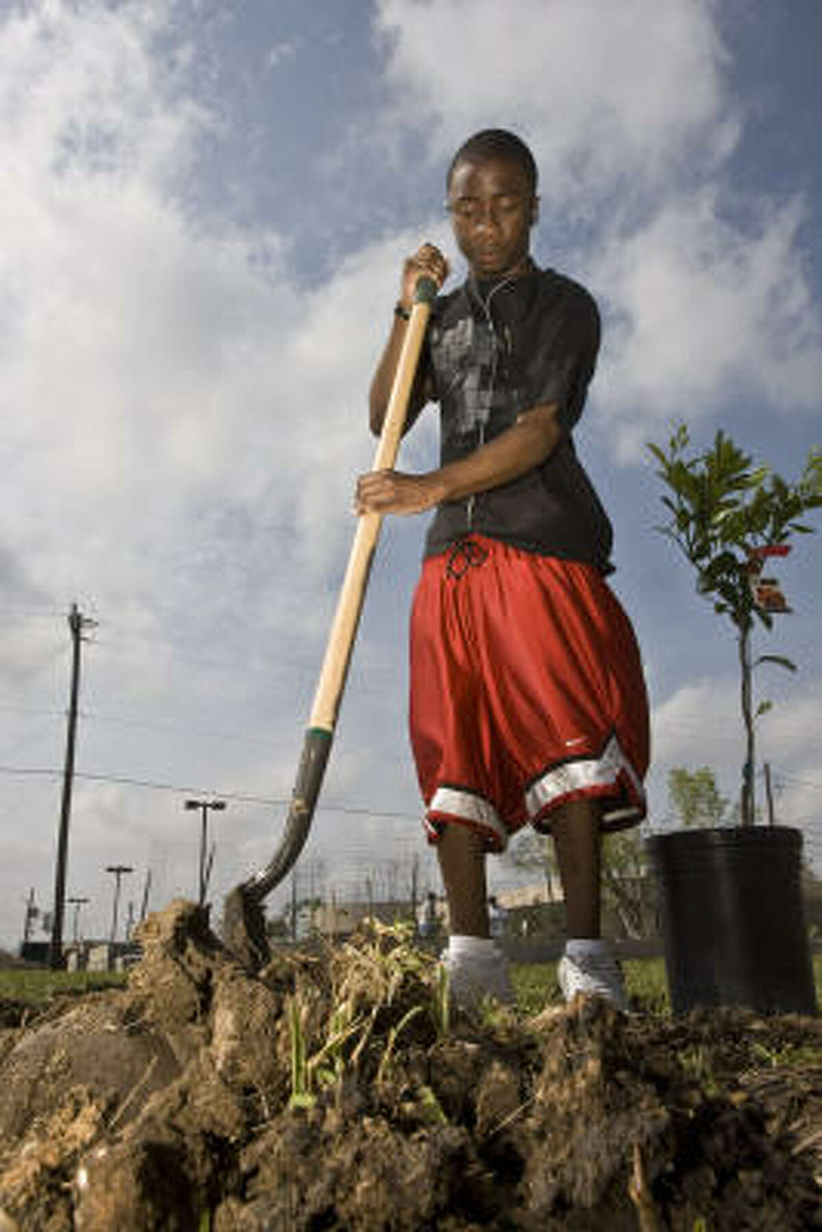Henry Guzman, 17, helps in the new community garden at Houston's Sunnyside Multi-Service Center.