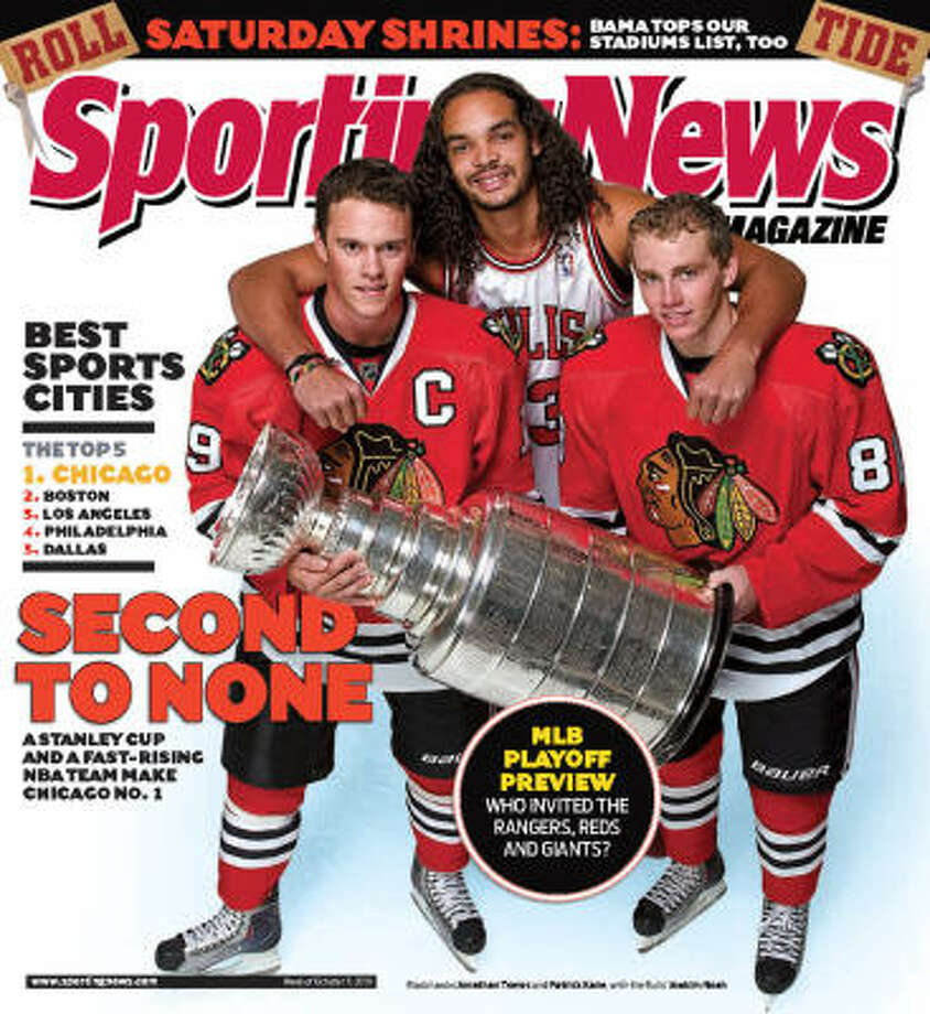 "No. 1 CHICAGO + EVANSTON Chicago, with the Stanley Cup-winning Blackhawks and fast-rising Bulls leading the way, top their list. Legendary Bears linebacker and Chicago native, Dick Butkus on what makes Chicago the Best Sports City: ""The Bears have had some down years, but they always sell tickets. You go to a Blackhawks game, whether they're good or bad, the fans are there. The Bulls sucked for a while until Michael Jordan came, but we still had the team and the people would go. ... And Cubs fans ... are they nuts? Why do they go there? I'll tell you why, because they represent their city. ...There's plenty to do in Chicago, too. The people there don't have to go through the hassle of attending games, but they always do anyway."" Photo: Courtesy Of The Sporting News"