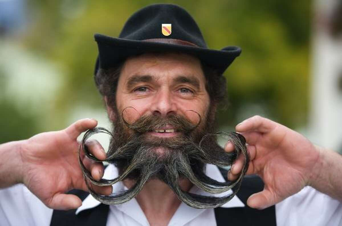Klaus Leible from Germany shows off his beard.