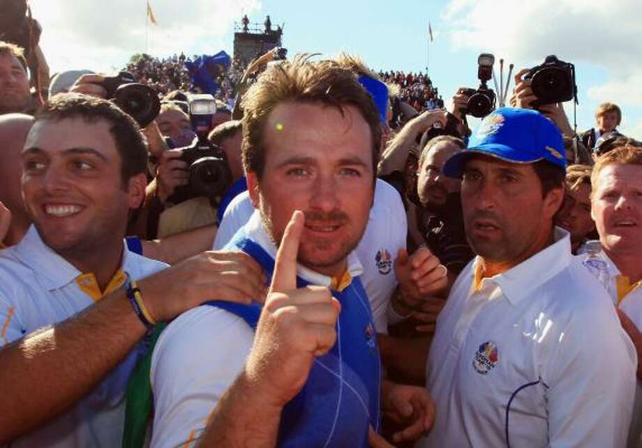 Oct. 4Graeme McDowell of Europe celebrates his win that clinched the cup for Europe on Monday. Photo: David Cannon, Getty Images