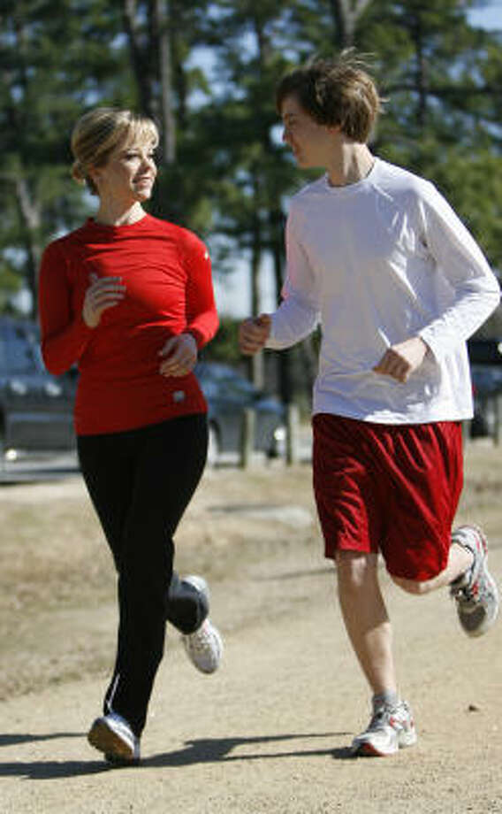 Sarah Ward, and her son Zach will both run the 38th Chevron Houston Marathon this Sunday. Photo: Karen Warren, Chronicle