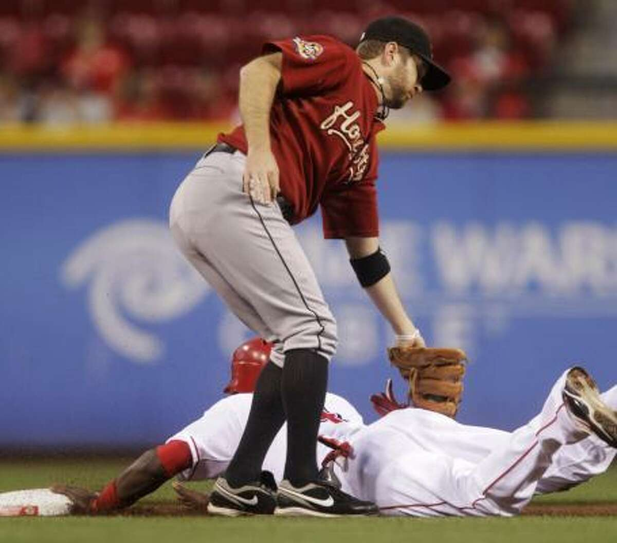 Sept. 30: Reds 9, Astros 1 Cincinnati's Brandon Phillips, bottom. steals second base ahead of the tag by Astros second baseman Jeff Keppinger in the first inning of Thursday's series finale.