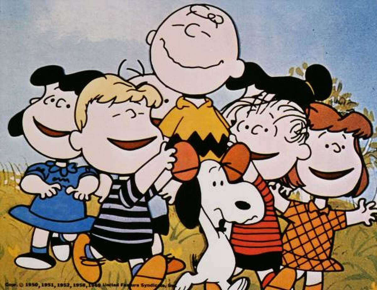 Peanuts creator Charles Schulz' beloved comic strip characters featured Snoopy (the dog), (left to right) Lucy, Schroder, Charlie Brown, Linus, and a host of others.