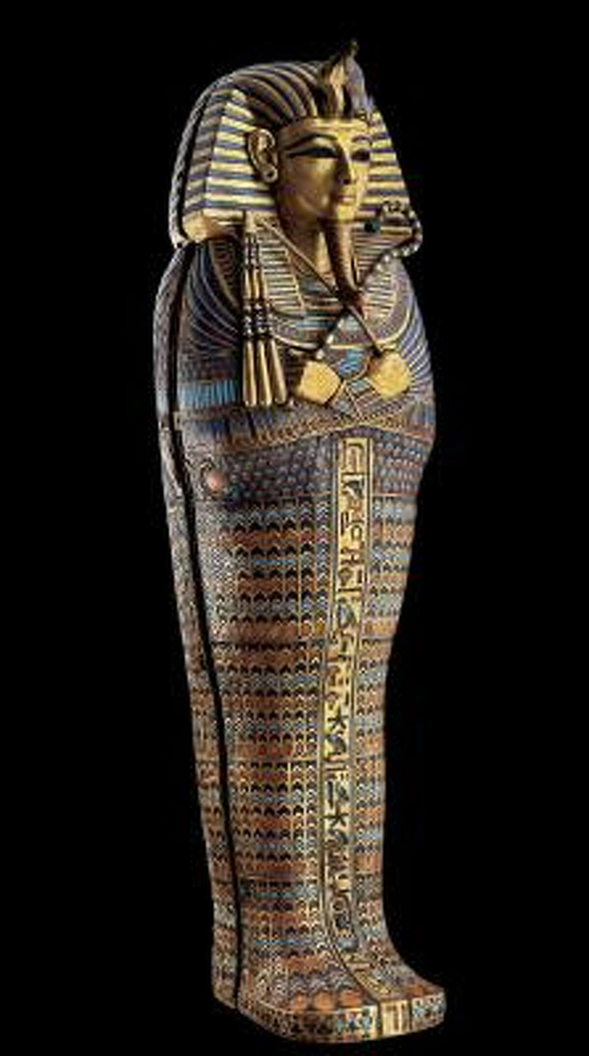 The Museum of Fine Arts, Houston will present Tutankhamum: The Golden King and the Great Pharaohs from Oct. 13, 2011 to April 15, 2012. Each of the four miniature coffins of Tutankhamun held a different internal organ, and this one originally contained the stomach. Guarded by distinct gods, this container had the protection of both Duamutef and the goddess Neith, deities named in the inscription on the front.