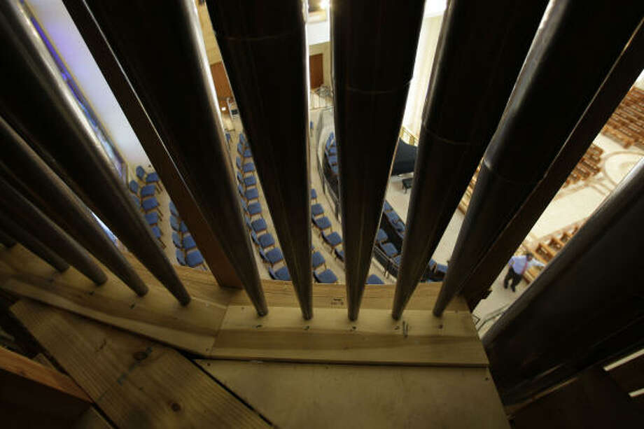 A view from inside the new pipe organ. Photo: James Nielsen, Chronicle