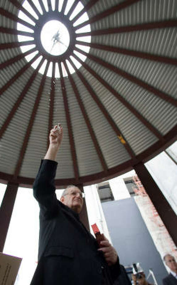 Archishop Emeritus Joseph A. Fiorenza blessed the 80,000-pound dome in 2006 Photo: Billy Smith II, HOUSTON CHRONICLE