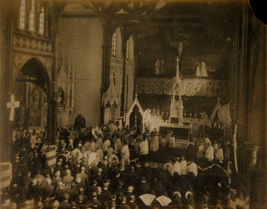 St. Mary Cathedral during the funeral of Bishop Nicholas Gallagher in 1918. It is now called St. Mary Cathedral Basilica. Photo: Photo Courtesy Of The Archdioces