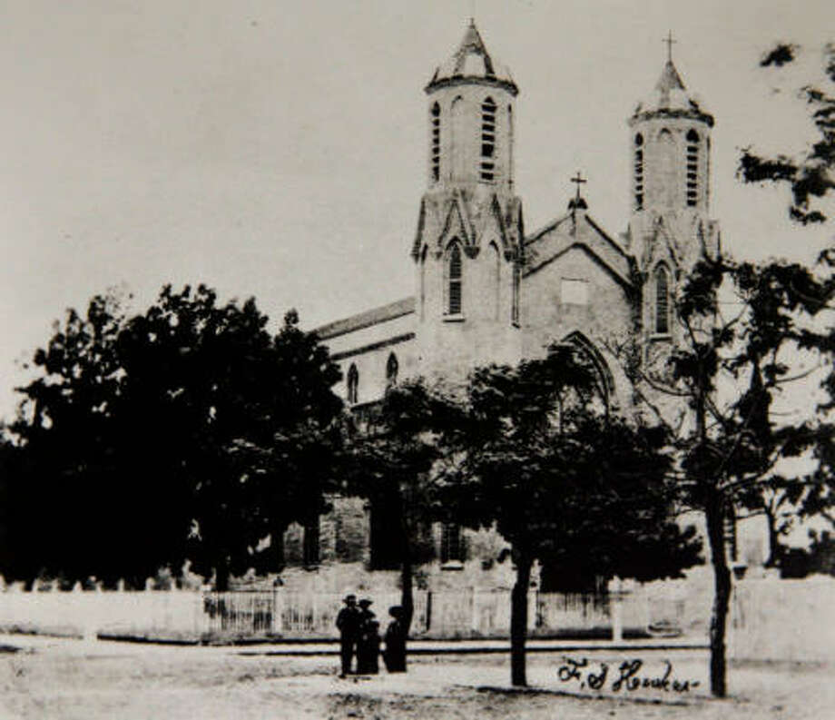 St. Mary Cathedral Basilica was the first cathedral in Texas. This is a copy of photograph taken before 1876. Photo: Photo Courtesy Of The Archdioces
