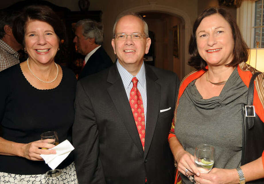 From left: Camille Reiser, Greg Robertson and Birgitt Van Wijk at a private Houston Grand Opera reception at the home of Molly and Jim Crownover. Photo: Dave Rossman, For The Chronicle