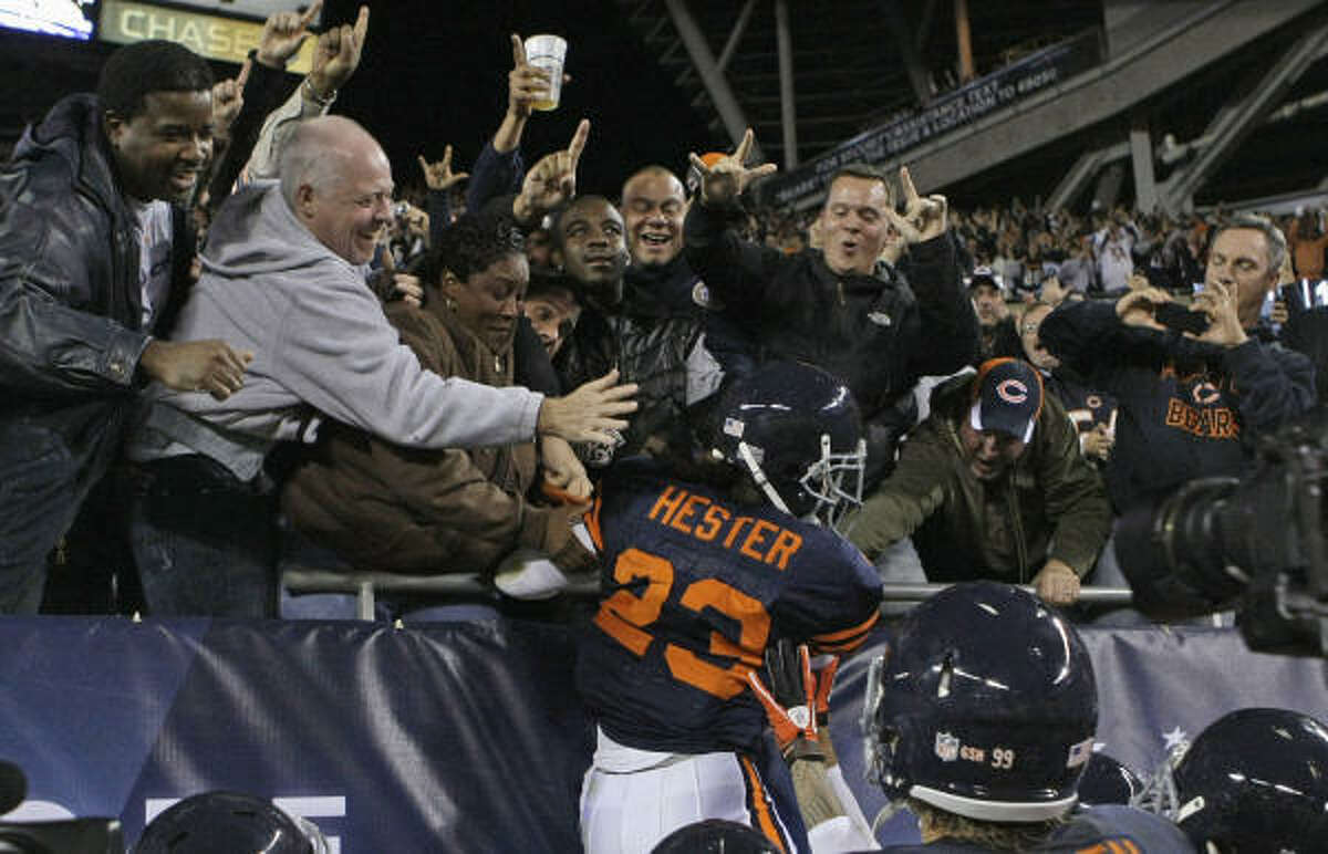 Sept. 27: Bears 20, Packers 17 Bears receiver Devin Hester (23) celebrates with fans after returning a punt 62 yards for a touchdown.
