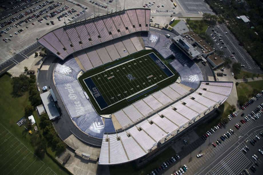 Ground was broken for Rice Stadium in February 1950. On Sept. 30, 1950, it hosted its first game, with Rice beating Santa Clara, 27-7. Seen from above on Sept. 24, 2008, the stadium has built a rich résumé of high school, college and pro football, as well as presidential speeches, ceremonies, concerts and more. Photo: Smiley N. Pool, Chronicle