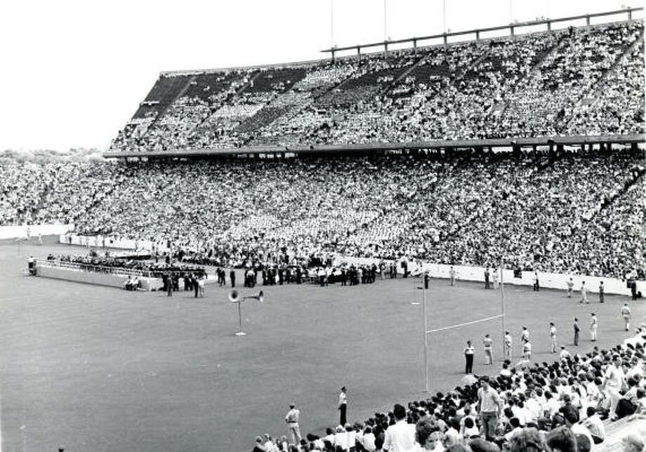 President John F. Kennedy visited Houston and addressed a crowd on Sept. 12, 1962, at Rice Stadium. Photo: Chronicle