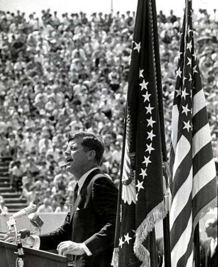 """In his speech at the stadium, President Kennedy issued his challenge to put a man on the moon, saying """"We do not intend to stay behind in space."""" Photo: Ted Rozumalski, Chronicle"""
