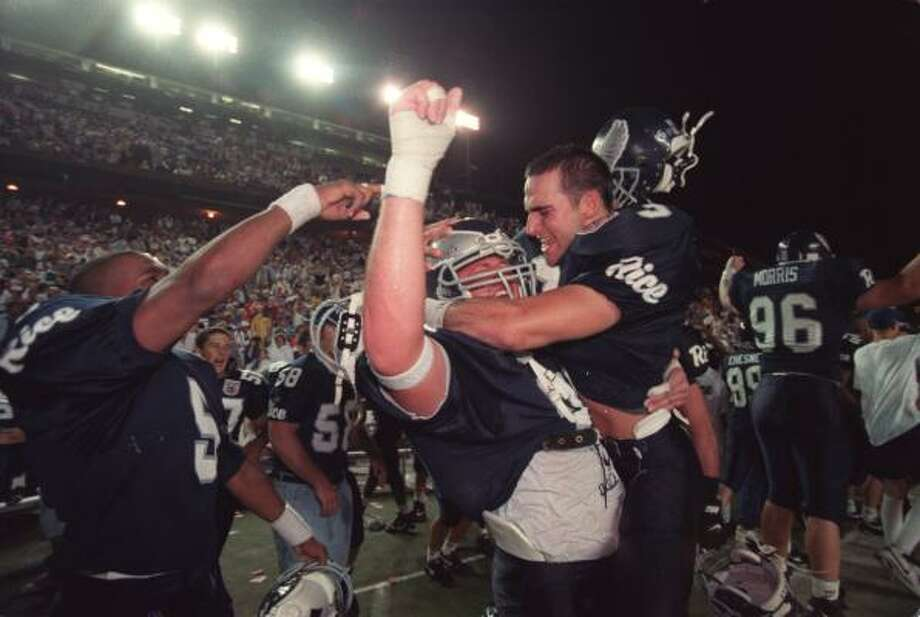 Rice has defeated Texas only once since 1965, but the Owls' 19-17 victory over the Longhorns on a rainy Oct, 16, 1994, at Rice Stadium is a highlight to remember. Photo: Howard Castleberry, Chronicle