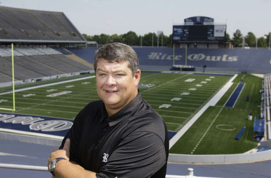 Rice University's current head football coach David Bailiff has a moment to relax at Rice Stadium on July 2, 2009. Bailiff took over at Rice in 2007. Photo: Melissa Phillip, Chronicle