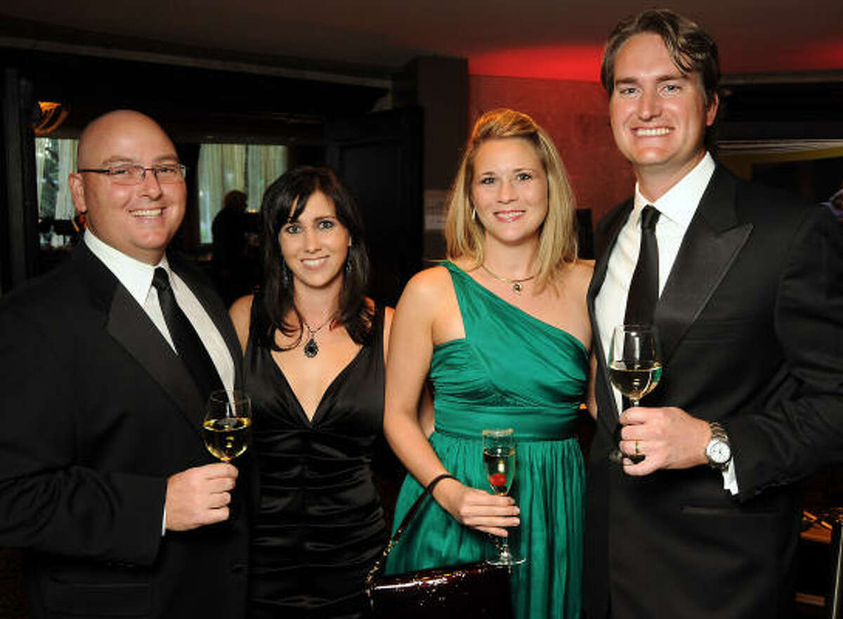 From left: Byron and Amanda Way with Megan and Stephen Johnson at the Museum of Printing History Gala at Hotel ZaZa.