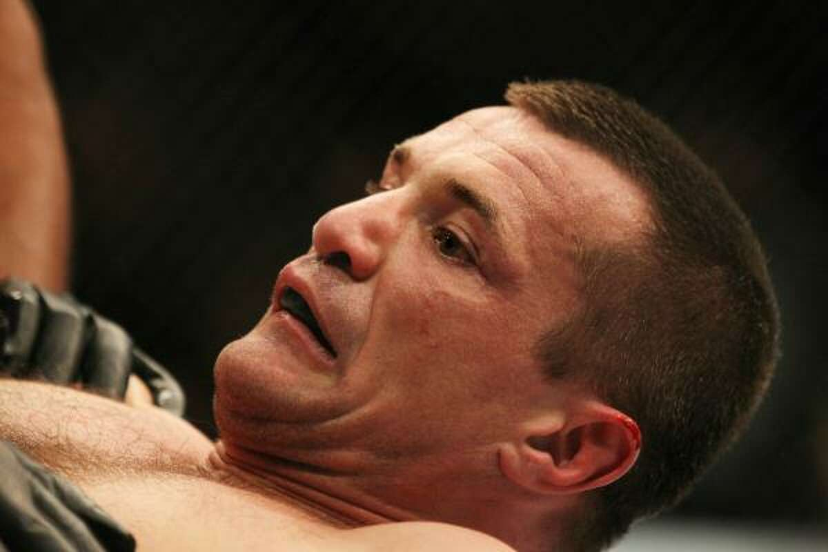 Mirko Cro Cop reacts after being knocked out by Frank Mir during their UFC heavyweight bout.