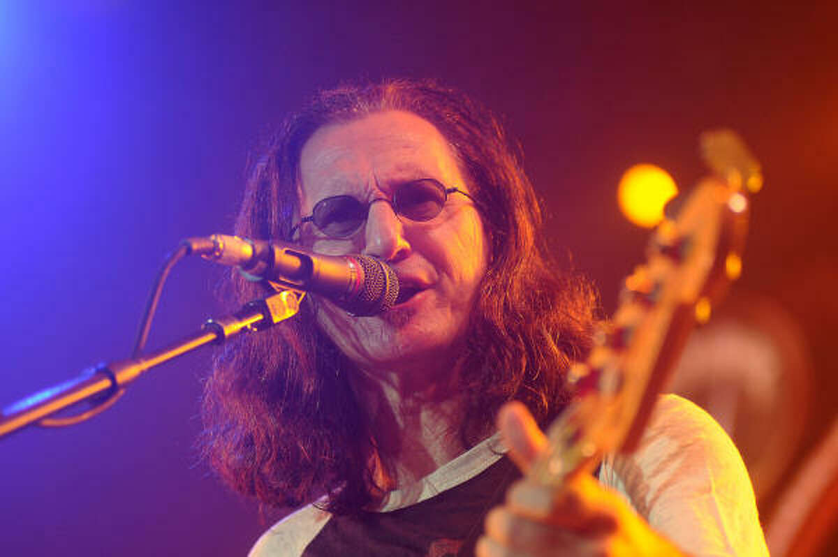 Geddy Lee of Rush performs at the Cynthia Woods Mitchell Pavilion in The Woodlands Saturday Sept. 25, 2010.