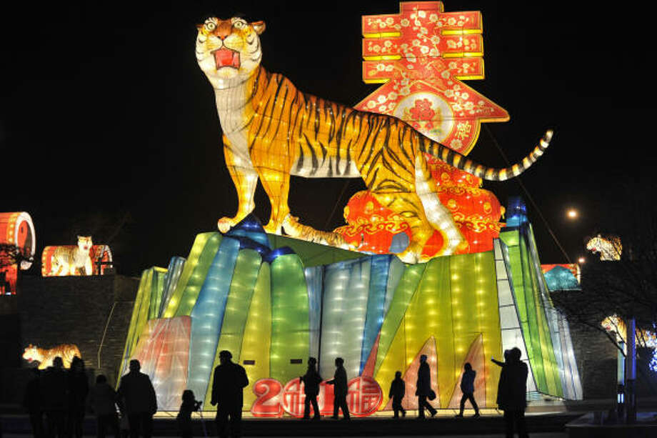 A tiger-shaped lantern is set up for the Chinese lunar new year, also the Year of the Tiger. The Chinese lunar new year begins on Feb. 14. Photo: ASSOCIATED PRESS