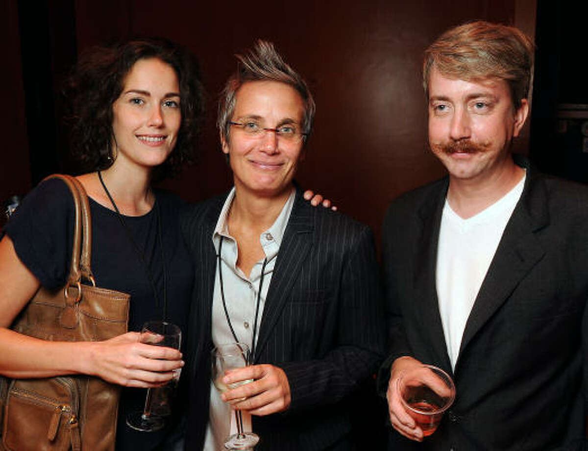 From left: Josette Edwards, Monica Pope and Jason Kerr at a VIP party on the Jones Hall Stage following Anthony Bourdain: Up Close and Confidential.