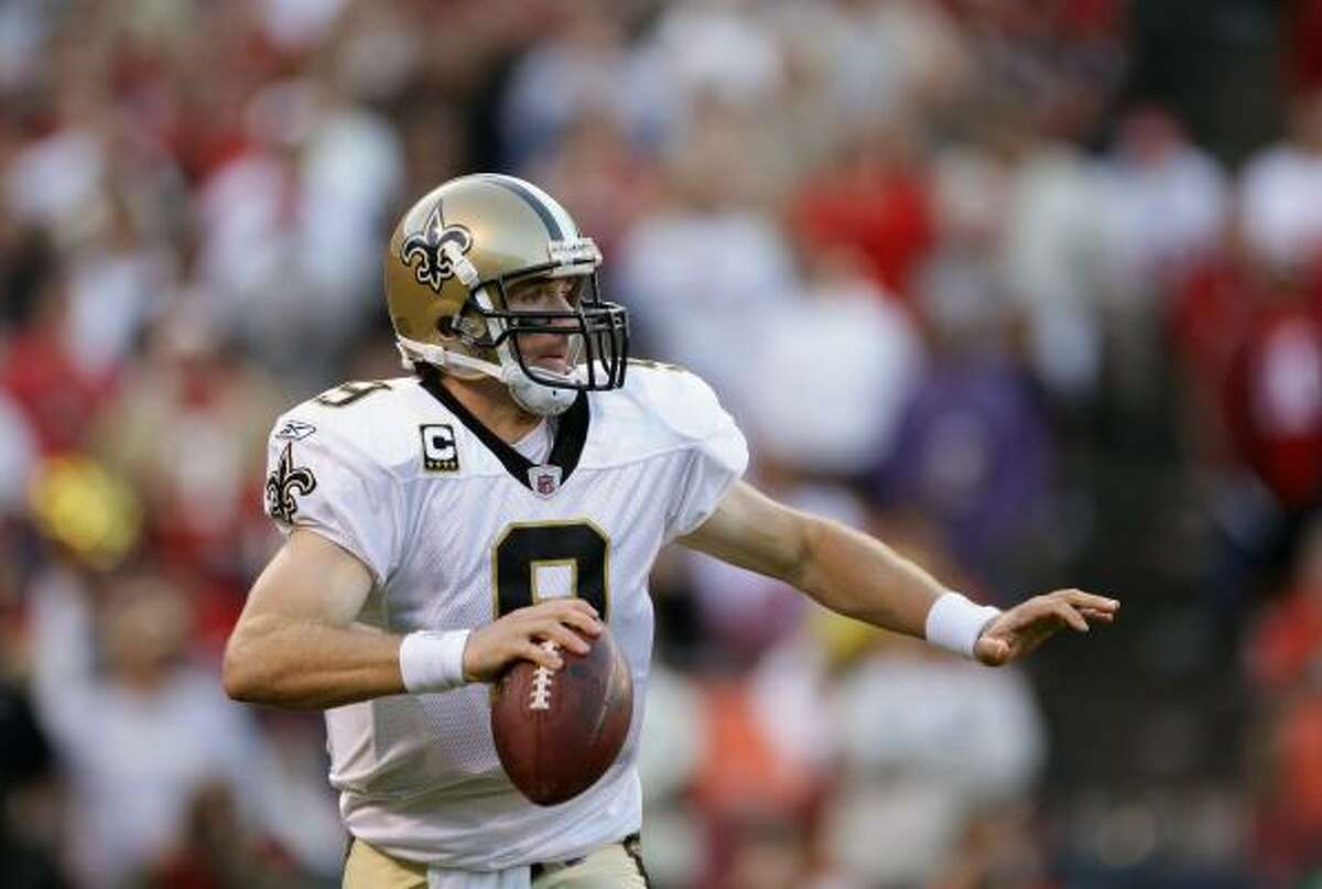 Sept. 20: Saints 25, 49ers 22 Saints quarterback Drew Brees completed 28 of 38 passes for 254 yards and two touchdowns.