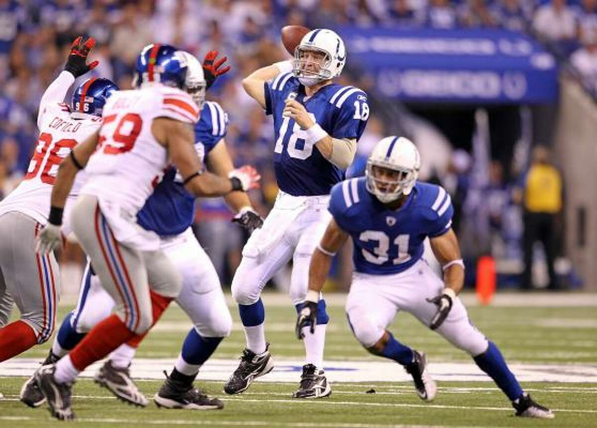 Sept. 19: Colts 38, Giants 14 Colts quarterback Peyton Manning threw for 255 yards and three touchdowns.