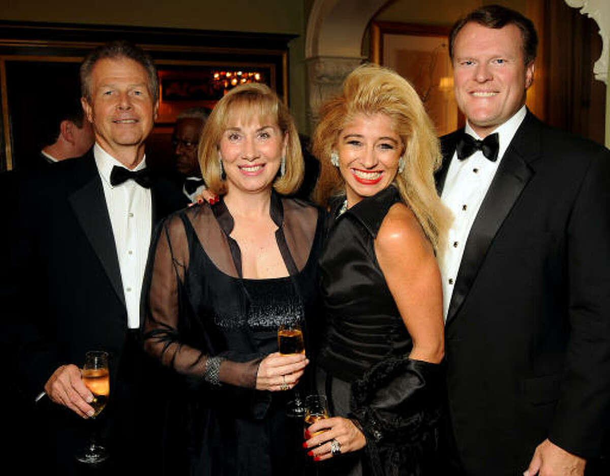 From left: Philip Bahr, Denise Bahr, Sofia Adrogue and Sten Gustafson at a dinner at La Colombe d'Or Mansion celebrating the Brilliant Lecture Series' fifth anniversary. Darren McGrady, chef to the late Princess Diana, served a six-course meal of royal favorites.